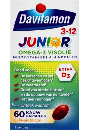 Davitamon Junior 3+ omega 3 visolie 60 capsules