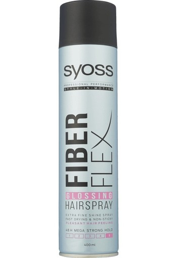 Syoss Fiber Flex Glossing 5 mega strong haarspray (400 ml)