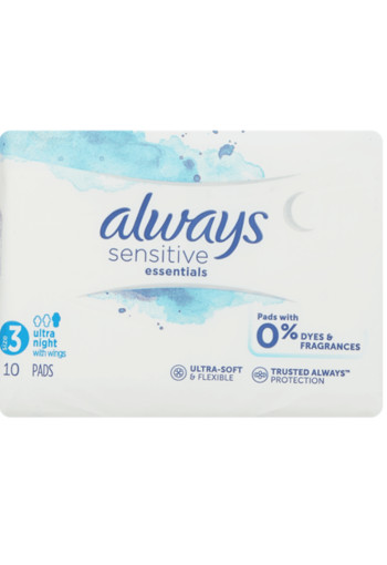 Always Sensitive Maandverband Essentials Night Met Vleugels maat 3 -10 stuks