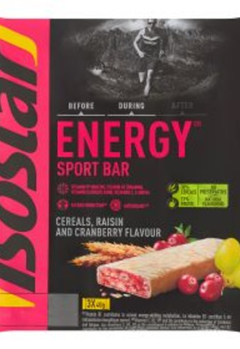 Isostar Energy sport bar cereals raisin cranberry 3x40g (120 gram)