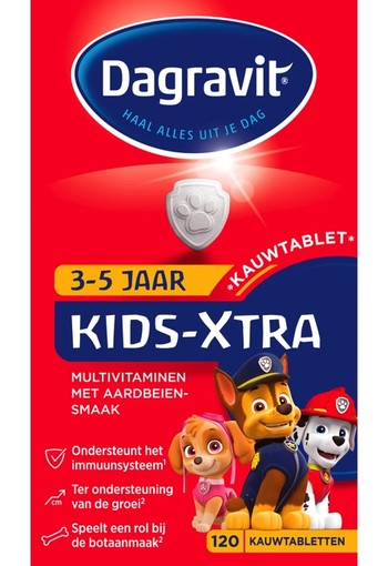 Dagravit Kids Xtra Multivitaminen 3-5 Jaar Kauwtablet Aardbeiensmaak 120 EA, tablet 120 stuks tablet