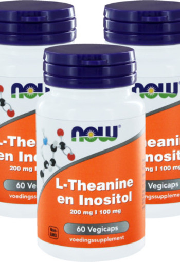 Now L-theanine 200 Mg Met Inositol 100 Mg Trio 3x 60vc