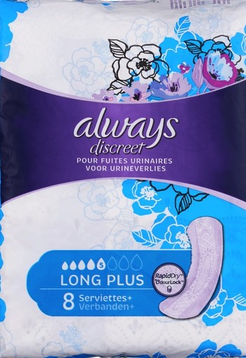 Always Discreet Verband+ Voor Urineverlies Long Plus 8 stuks