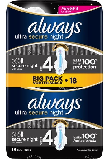 Always Ultra Maandverband Met Vleugels Secure Night 18 stuks