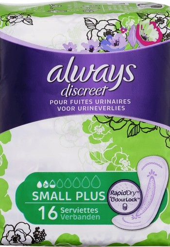 Always Discreet Verband+ Voor Urineverlies Small Plus 16 st.