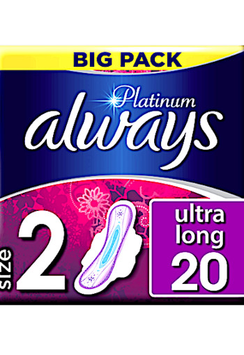Always Platinum Ultra Long (Maat 2) Maandverband Met Vleugels 20 st.