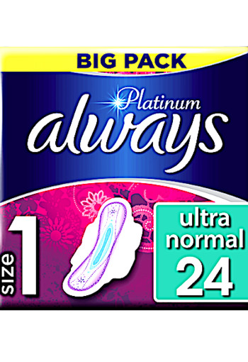 Always Platinum Ultra Normal (Maat 1) Maandverband Met Vleugels 24 st.
